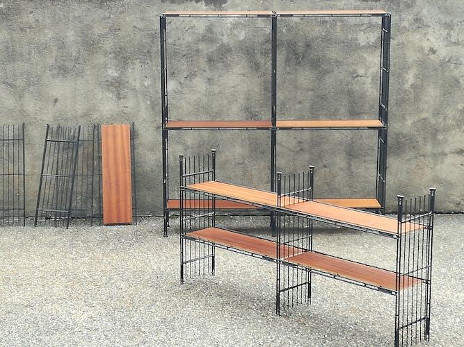 Système d'étagères modulable modèle Multistrux vintage en fer de Multimueble, 1960s