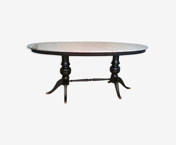 Table Ovale En Marbre Et Bois à Pieds De Laiton Marbre Blanc