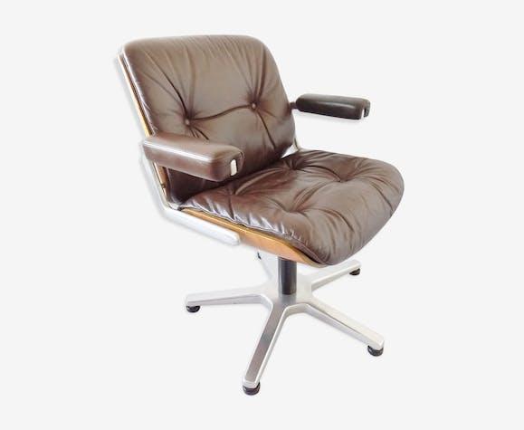 Chaise de bureau en cuir Stoll Giroflex par Karl Dittert moderne du milieu du siècle