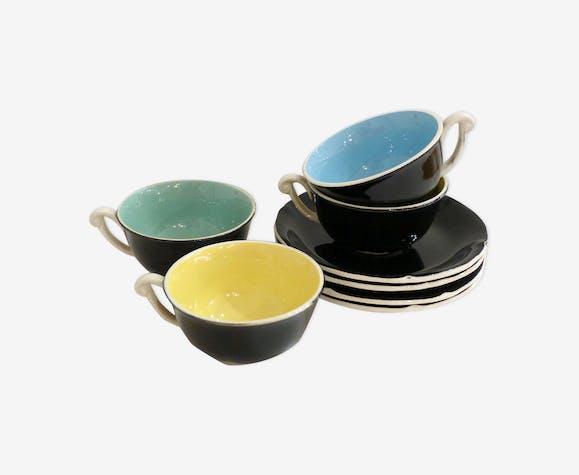 """Set de 4 tasses """"Trianon"""" 1950' par Ceranord Saint-Amand"""