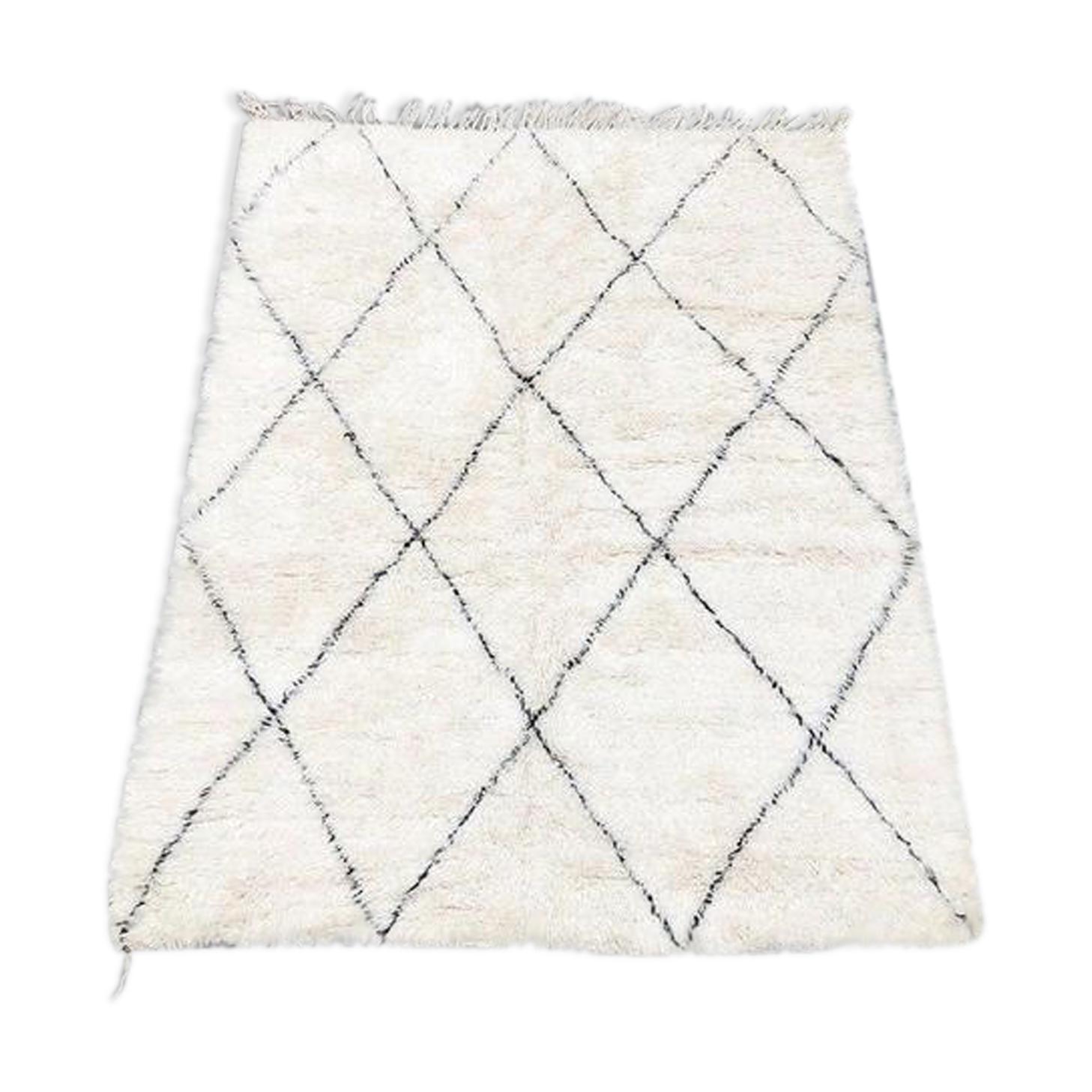 tapis beni ouarain 220x175cm - laine/coton - blanc - éthnique - 13efddo