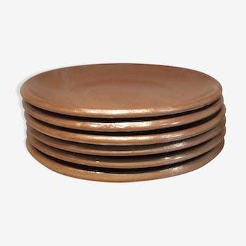6 vintage sandstone desset plates