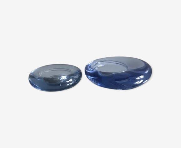 Holmegaard blue trinket bowl set by per Lutken signed, Denmark 1950