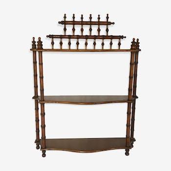 Étagère XIXème bois tourné style bambou