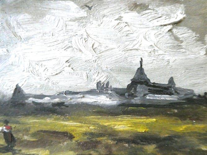 Paire de tableaux, huiles sur panneau, paysages, personnages