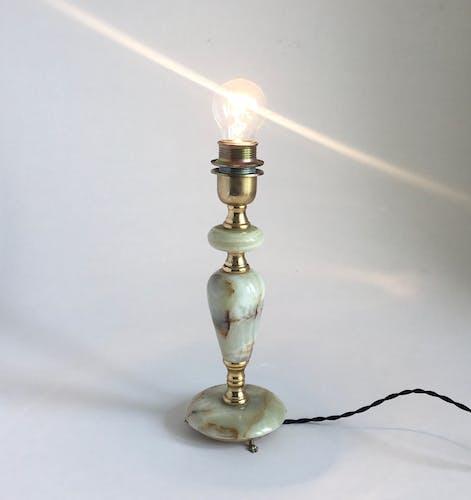 Lampe en laiton et onyx années 1960