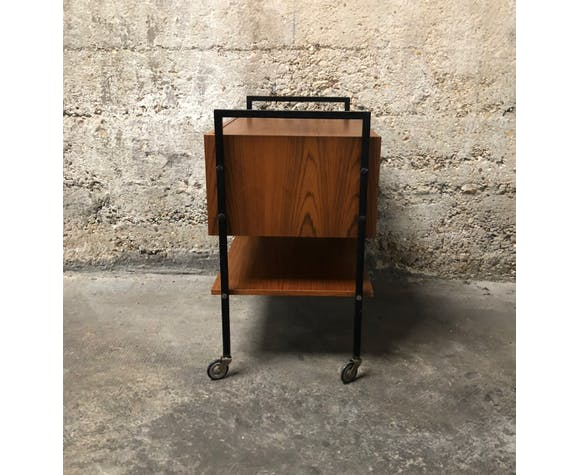 Meuble de rangement à roulettes vintage bois et métal