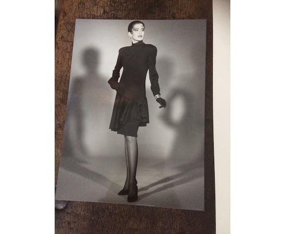 """Illustration de mode Christian Dior """" 1985 -86"""" et photographie originale de presse vintage"""
