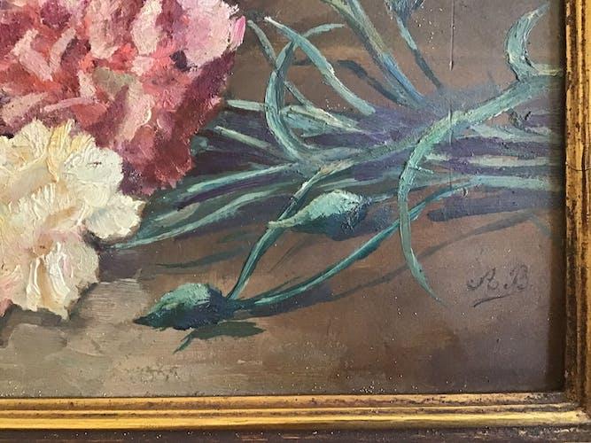 Tableau, bouquet de fleurs oeillets