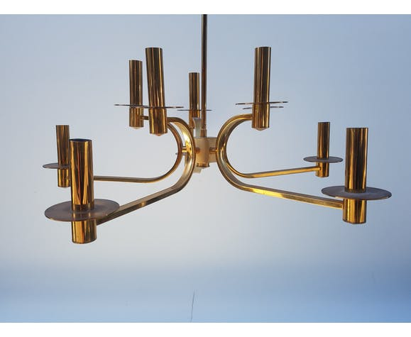 Lustre italien en laiton doré, 10 lumières, des années 70