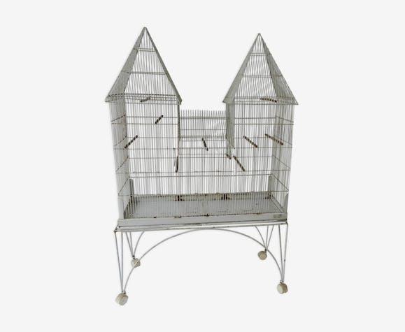 Cage à oiseaux ancienne sur son support roulettes