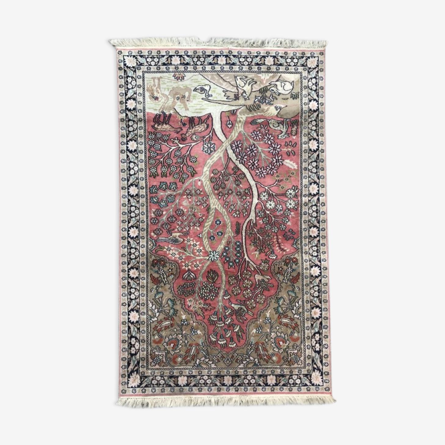 Tapis vintage cachemire en soie 92x155 cm