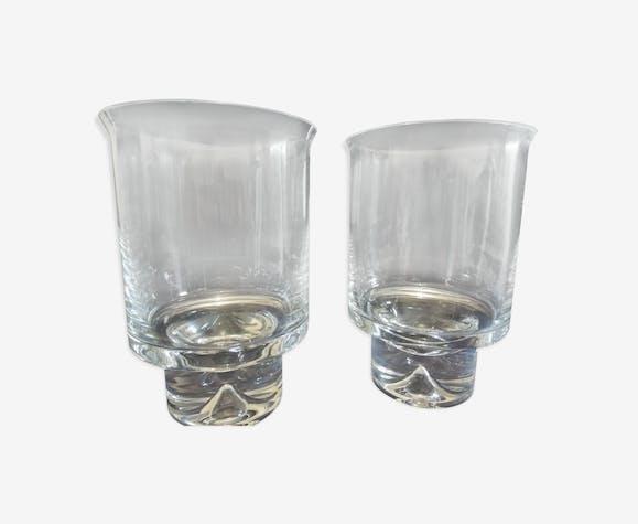 Paire de photophores, bougeoirs, vases en cristal
