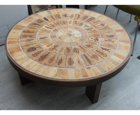 Round Coffee Table Signed Capron Selency
