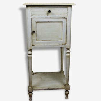 Bedside table old patina to the creamy white English