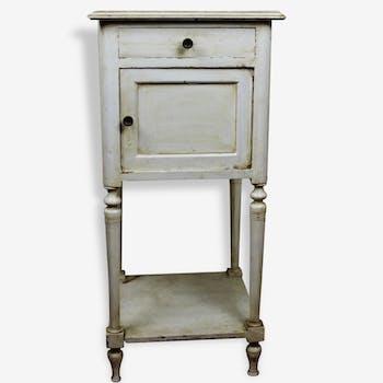 Table de chevet ancienne patine à l'anglaise blanc crème