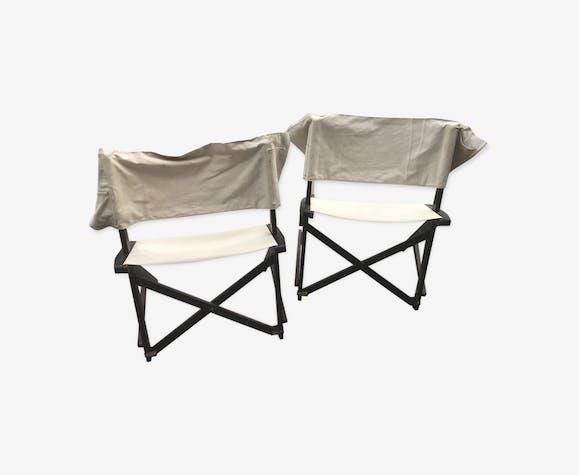 Paire De Chaise De Camping Vintage Bois Materiau Blanc