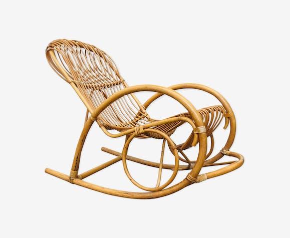 Vintage rocking chair in  rattan