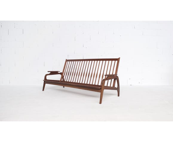 Banquette 3 places scandinave palissandre massif Adrian Pearsall années 60'