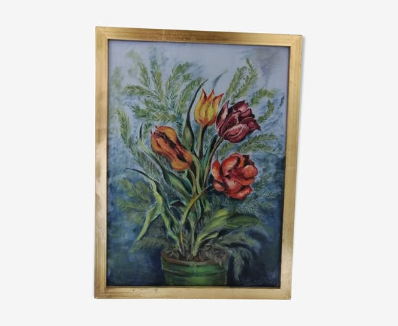 """Still life """"The 4 tulips"""" oil on canvas dated and signed"""