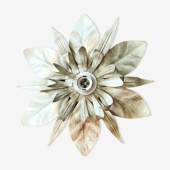 Applique fleur en métal écru
