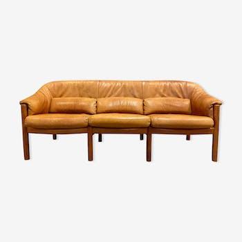 Canapé teck et cuir design scandinave 1960
