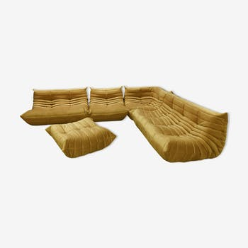 """Togo"" sofa set velvet young/gold by Michel Ducaroy for Ligne Roset"