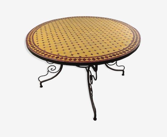 Table marocaine en mosaïque jaune/rouge et fer forgé - métal ...