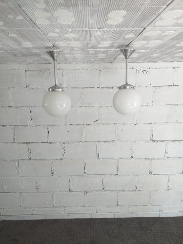 Set de 2 suspensions art deco années 30 vintage aluminium bauhaus