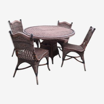 banquette canap 2 places rotin vintage rotin et osier vintage 55133. Black Bedroom Furniture Sets. Home Design Ideas