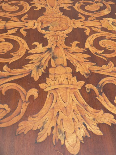 Pedestal table marquetry Charles X