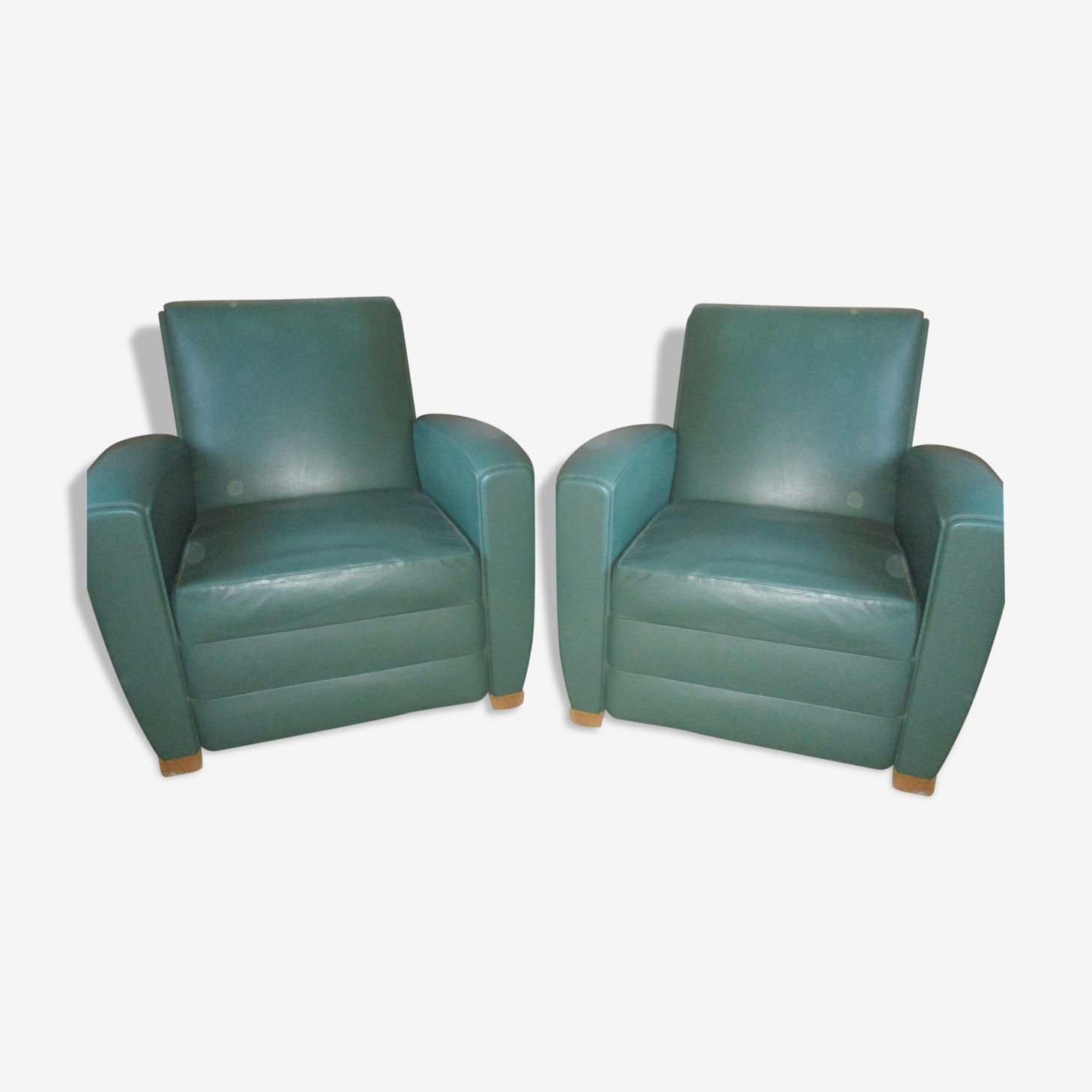 Paire de fauteuils club René Jeannot
