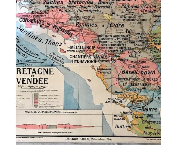 """Carte scolaire ancienne """"Bretagne et Vendée"""" régions naturelles de ..."""