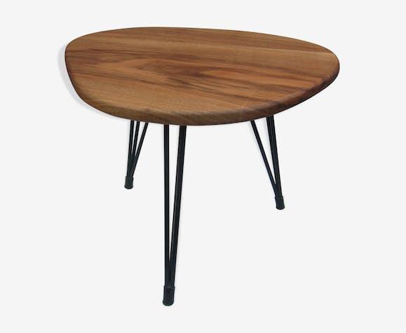 table basse d 39 appoint tripode des ann es 60 en noyer bois mat riau noir vintage 7xfujmx. Black Bedroom Furniture Sets. Home Design Ideas