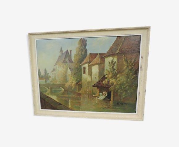 Huile sur toile ancienne paysage villageois