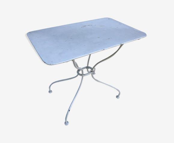Table bistrot jardin métal blanc pieds courbés fer forgé ...