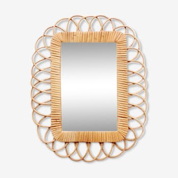 Rectangular mirror with a frame in rattan 38, 5x48cm