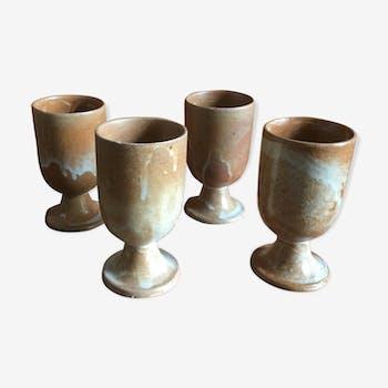 4 Tasses ou verres mazagran en grès années 70