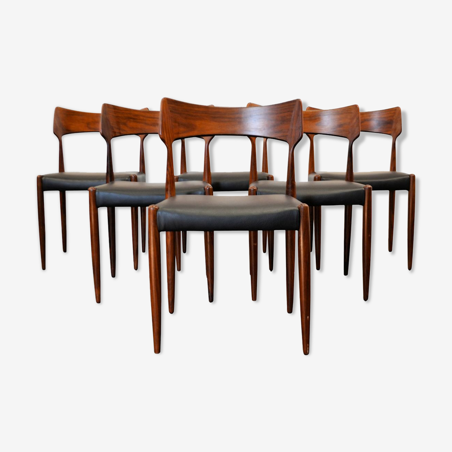 Ensemble de 6 chaises en palissandre vintage Bernard Pedersen