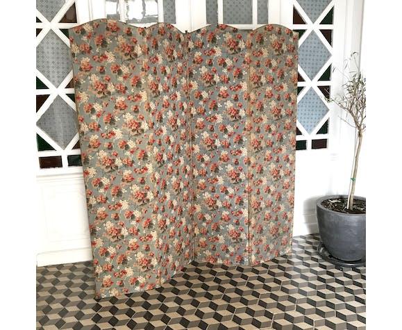 Paravent ancien bois et tissu fleuri