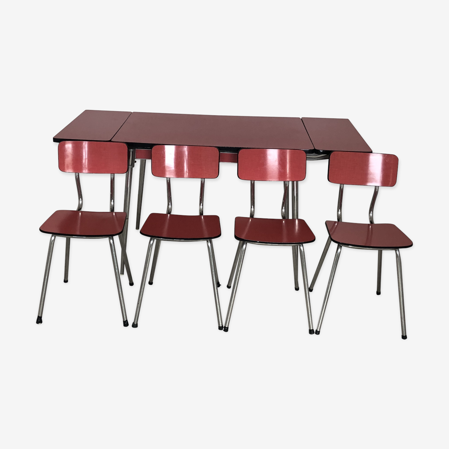 Table formica rouge & 4 chaises