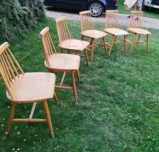6 chaises Ikea vintage modèle Stockholm années 1960