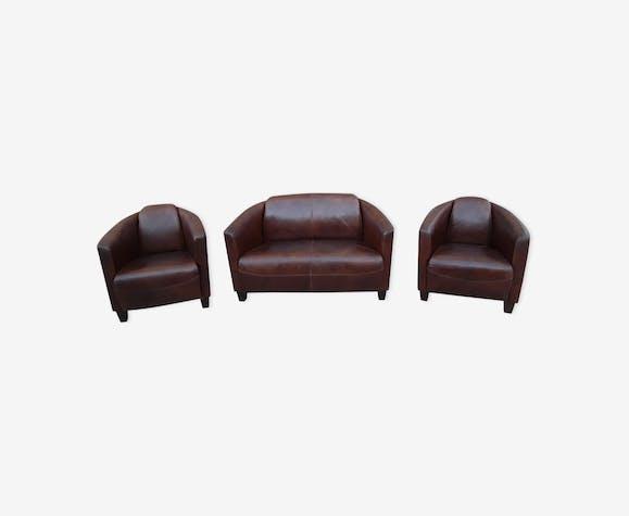 ensemble 2 fauteuils club et sont canap assorti en cuir vachette marron vieilli cuir marron. Black Bedroom Furniture Sets. Home Design Ideas