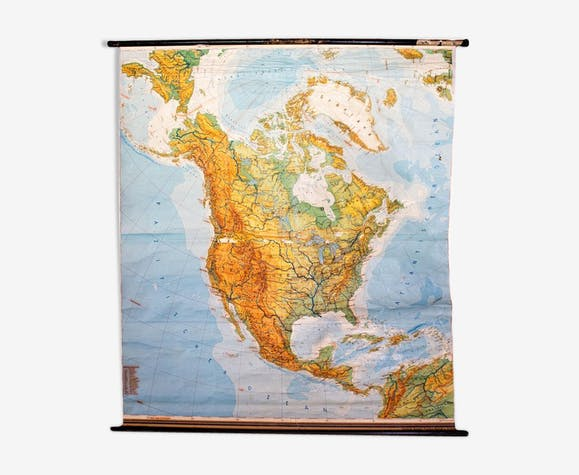 "Poster ""North America"" ​​educational grid 1954"