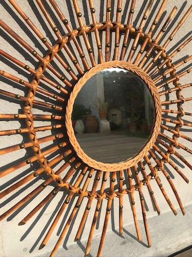 Miroir soleil rotin flammé 79cm