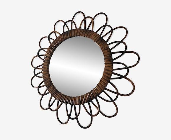Miroir soleil fleur rotin 46cm vintage 1960