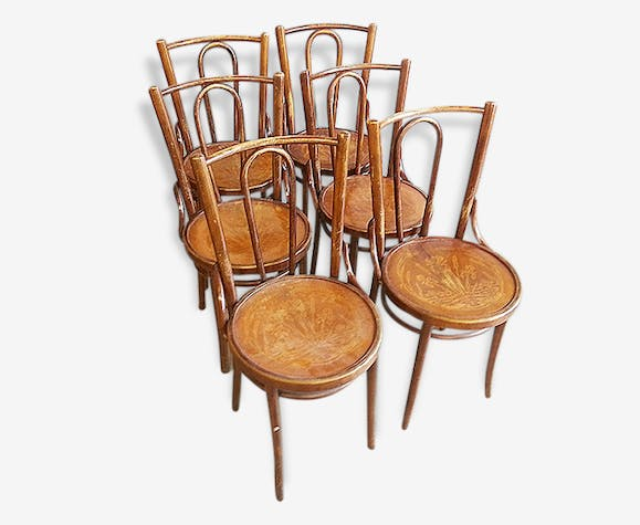 6 Chaises Bistrot Ancienne Style Thonet 1900