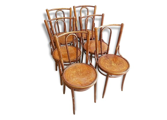 6 chaises bistrot ancienne style thonet 1900 bois for Style chaises anciennes