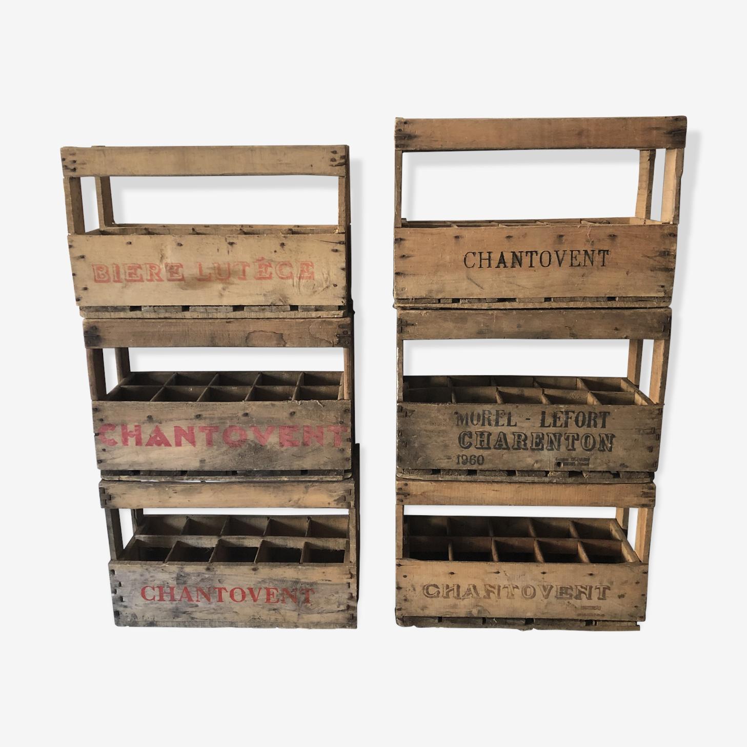 Lot de 6 casiers à bouteilles caisses en bois anciennes