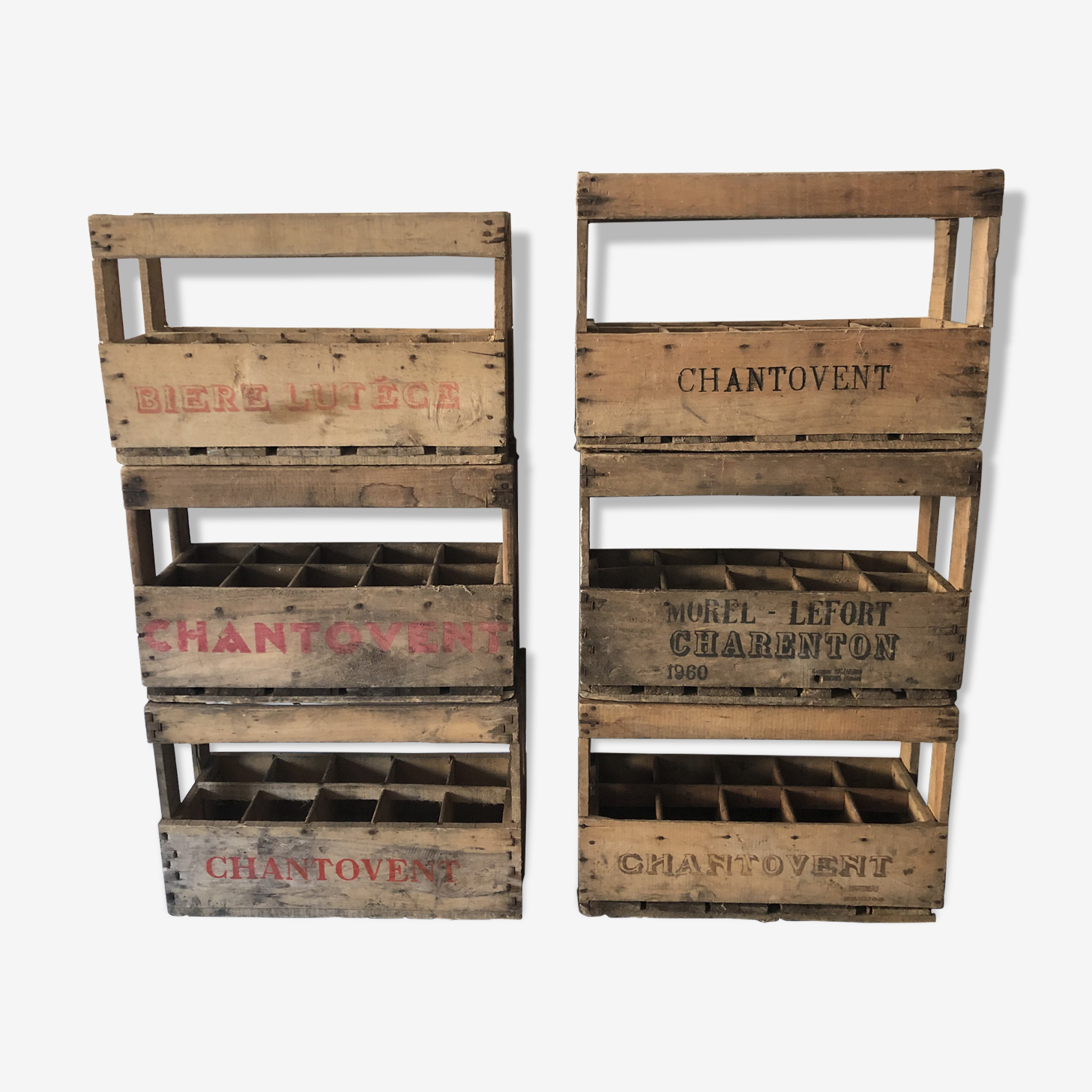 Lot of 6 bottle cases / old wooden crates